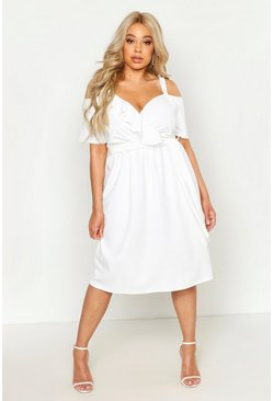 Womens Ivory Plus Plunge Ruffle Belt Midi Dress