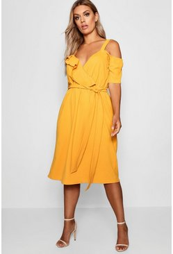 Womens Mustard Plus Plunge Ruffle Belt Midi Dress