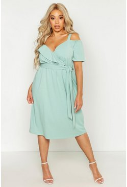 Sage Plus Plunge Ruffle Belt Midi Dress