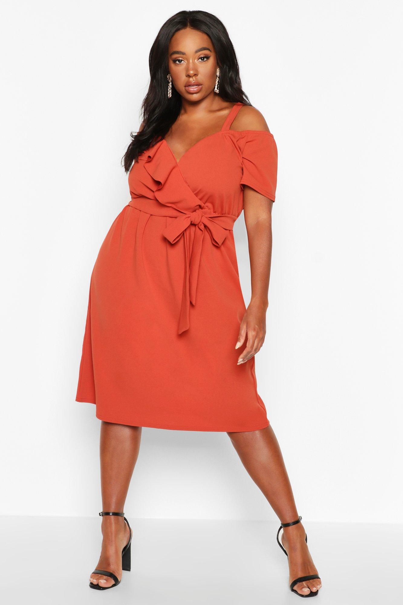womens plus plunge ruffle belt midi dress - orange - 12
