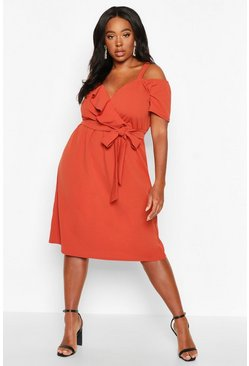 Terracotta Plus Plunge Ruffle Belt Midi Dress