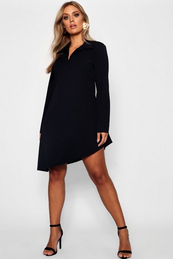 Plus Shirt Dress, Black, ЖЕНСКОЕ