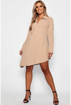 Womens Stone Plus Shirt Dress