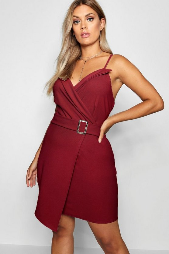 Womens Berry Plus V Wrap Belted Bodycon Dress
