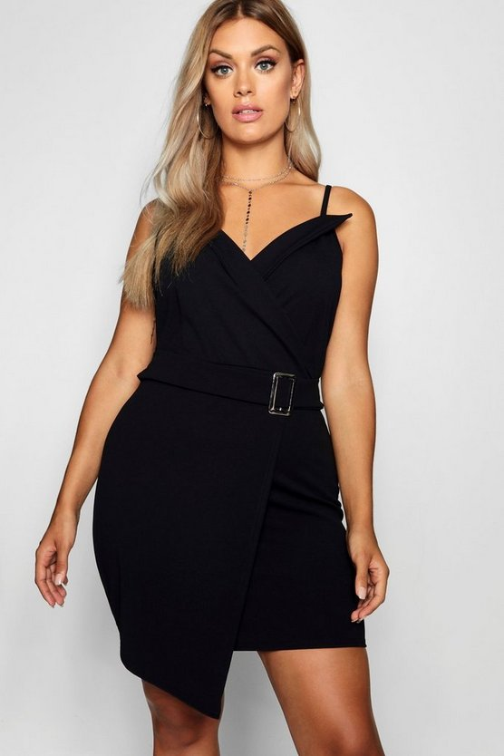 Plus V Wrap Belted Bodycon Dress