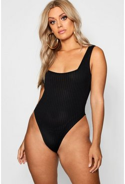 Womens Black Plus Square Neck Wide Rib Bodysuit