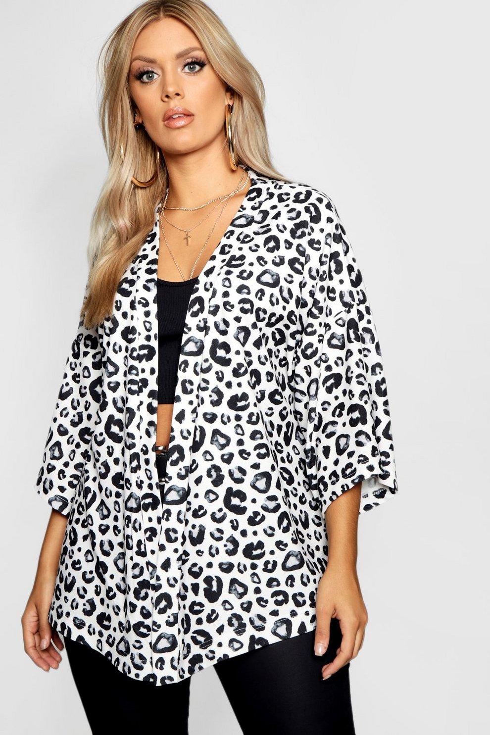 e97c060e18 Womens Ivory Plus Leopard Print Kimono