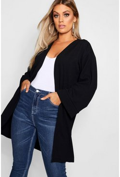Womens Black Plus Kimono Sleeve Duster