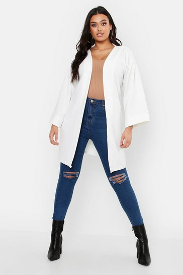 Womens White Plus Kimono Sleeve Duster