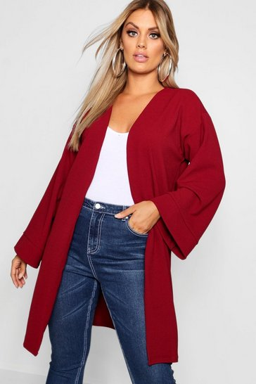 Womens Wine Plus Kimono Sleeve Duster