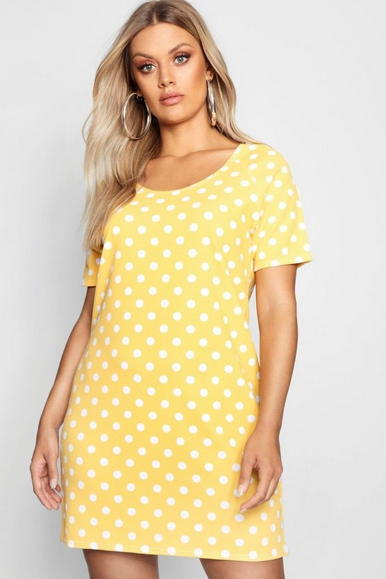 Plus Polka Dot Shift Dress