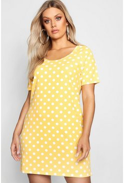 Womens Mustard Plus Polka Dot Shift Dress
