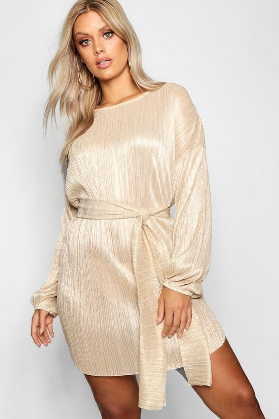 Womens Gold Plus Metallic Tie Waist Shift Dress