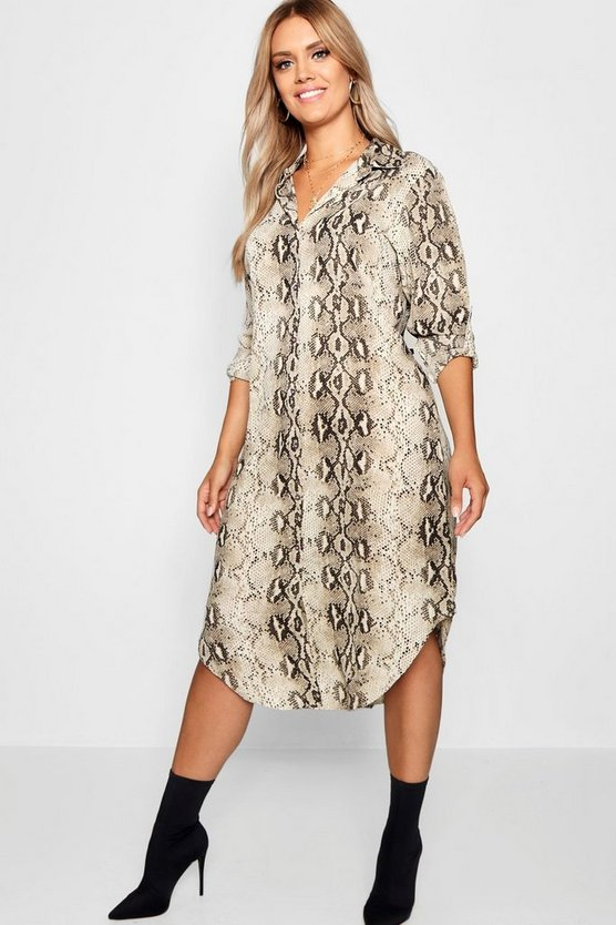 Womens Ivory Plus Snake Print Shirt Dress
