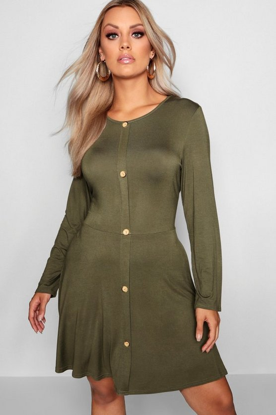 Plus Button Long Sleeve Skater Dress