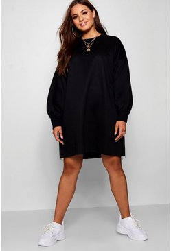 Womens Black Plus Oversized Sweat Dress