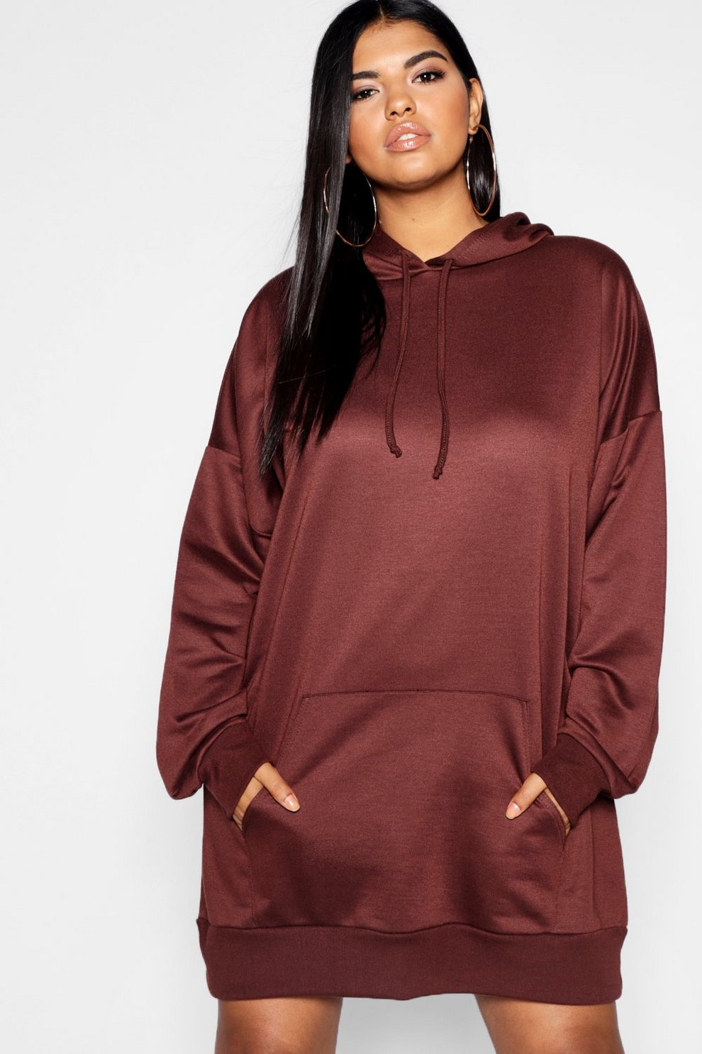 0d3677296dfc Womens Chocolate Plus Oversized Hooded Sweat Dress. Hover to zoom