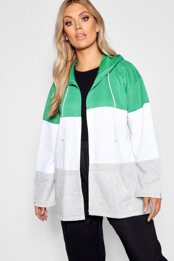 Womens Green Plus Contrast Sport Hooded Jacket