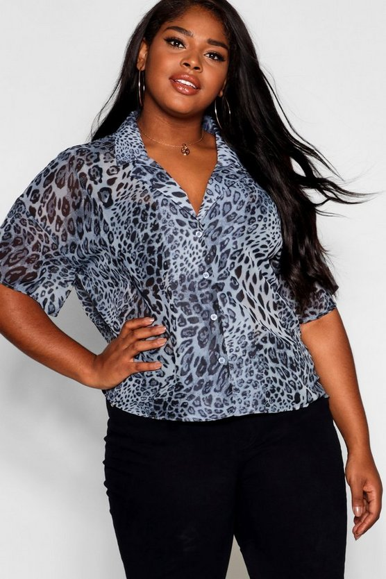 Plus Chiffon Animal Print Blazer Shirt