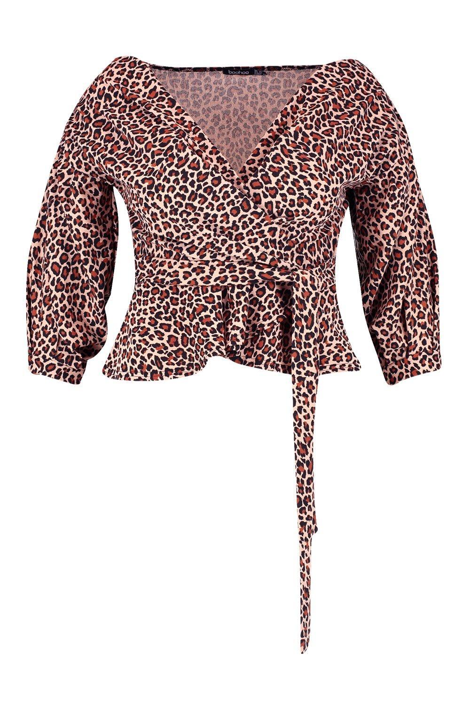 y marrón con cruzado estampado leopardo Plus Top descubiertos hombros de XF4xq