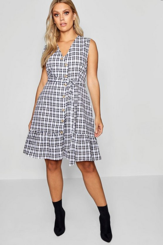 Plus Check Wrap Dress