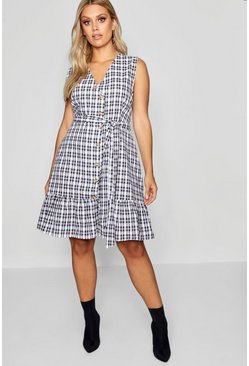 Womens Navy Plus Check Wrap Dress