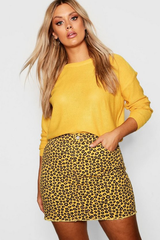 Plus Coloured Leopard Frayed Hem Skirt