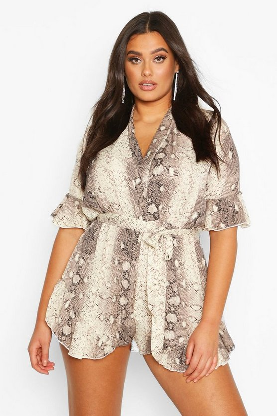 Womens Stone Plus Snake Print Ruffle Wrap Playsuit