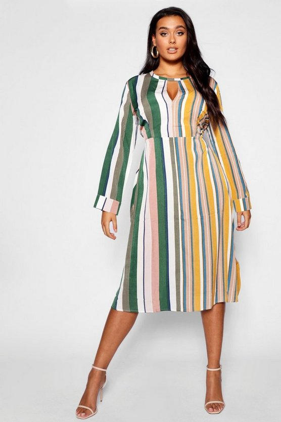 Plus Woven Stripe Midi Dress