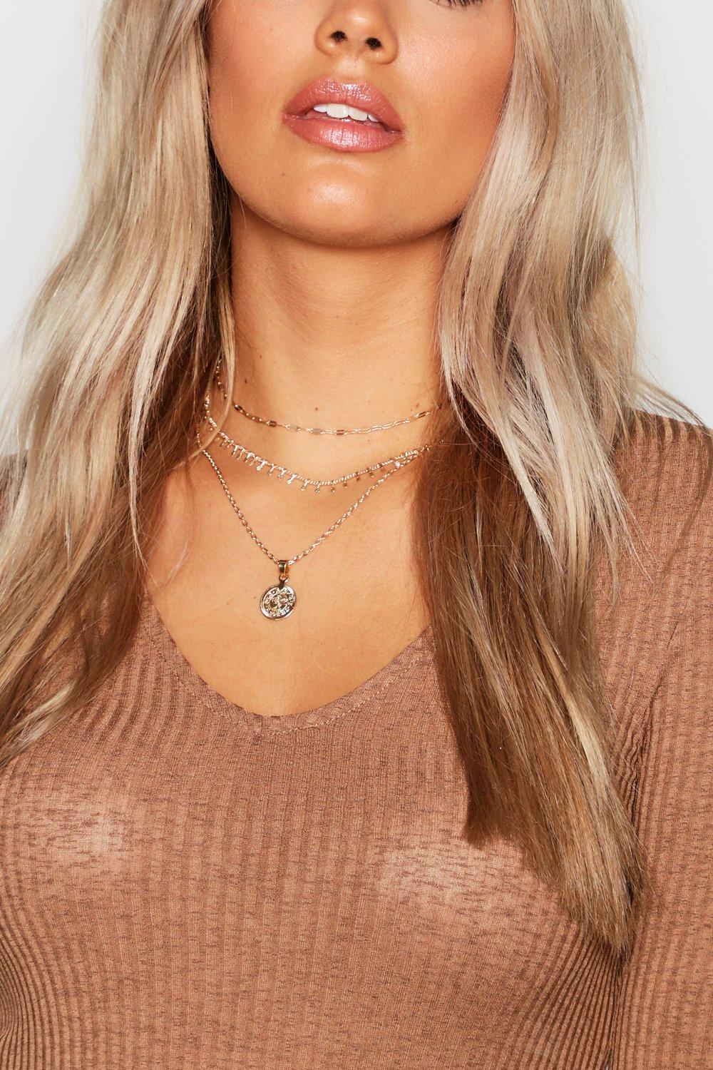 Plus Coin Pendent Layered Choker Necklace