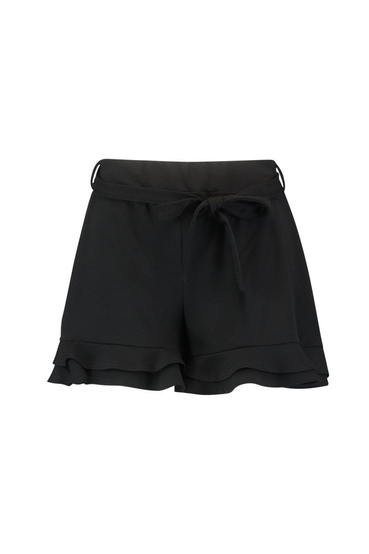 bajo Shorts con y nudo en Plus volante negro cintura de la rnnYxPdqB7