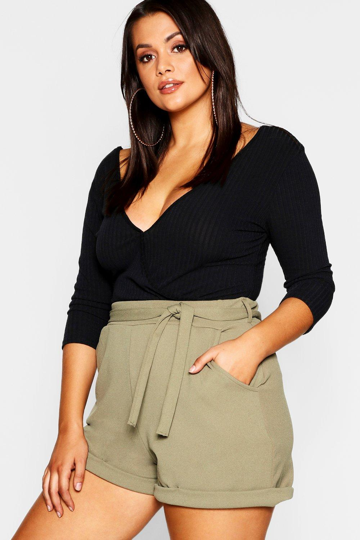 Plus con nudo la en crepé en Shorts verde cintura w0qv4AB