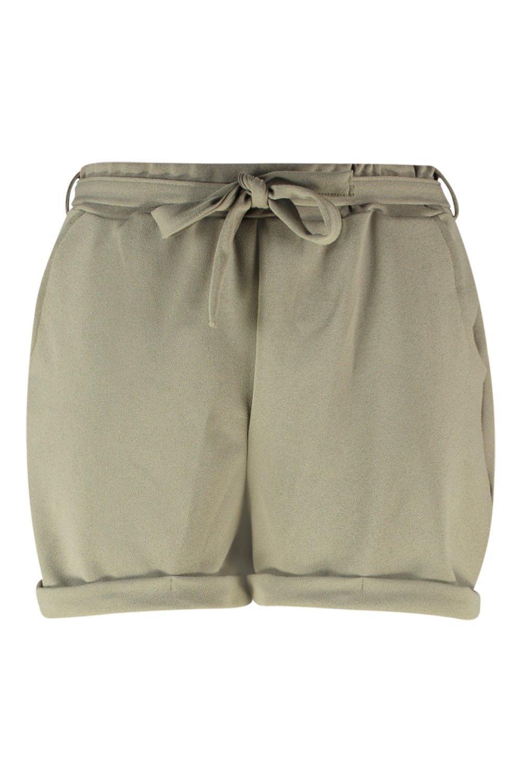 con nudo en Shorts cintura crepé verde Plus la en IawqWEtq