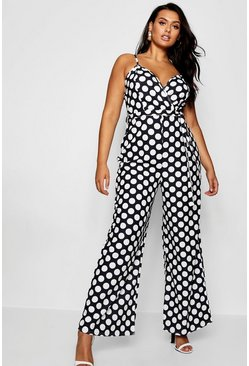 Womens Black Plus Wrap Polka Dot Jumpsuit