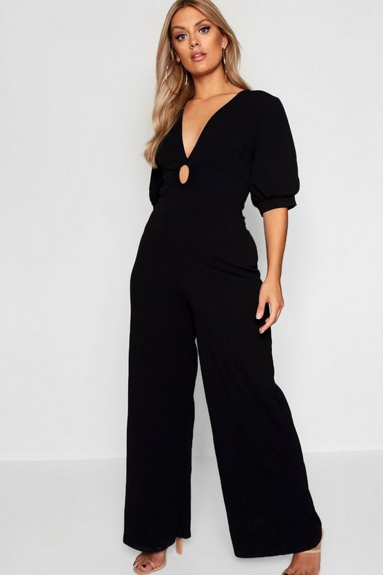 Womens Black Plus Puff Sleeve Plunge Jumpsuit