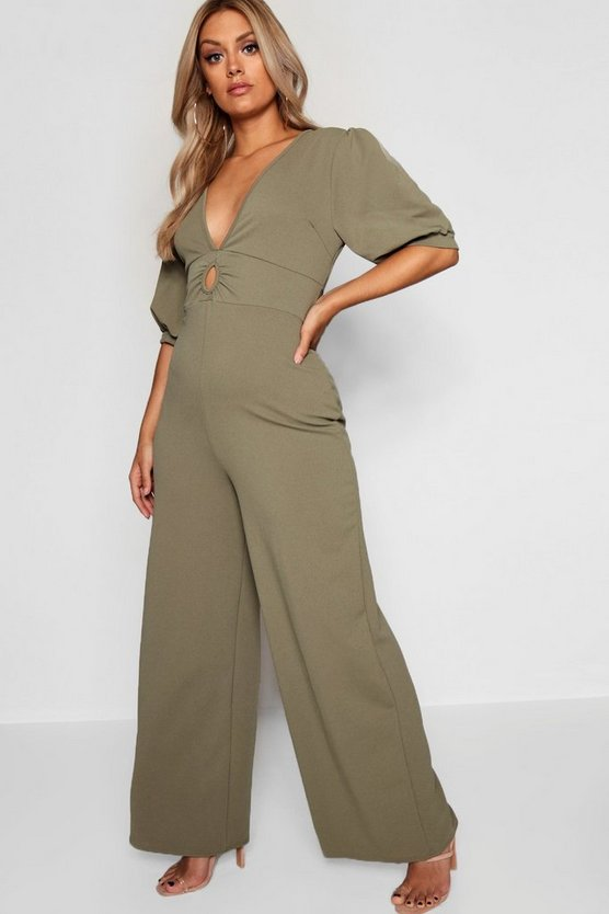Plus Puff Sleeve Plunge Jumpsuit
