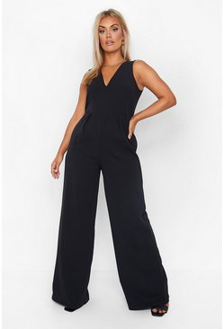 Womens Black Plus Plunge Wide Leg Jumpsuit