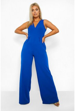 Cobalt Plus Plunge Wide Leg Jumpsuit