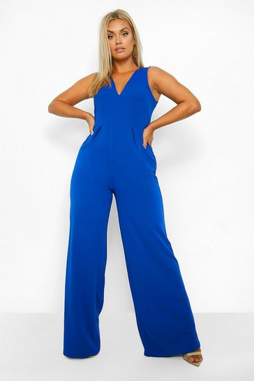 Womens Cobalt Plus Plunge Wide Leg Jumpsuit