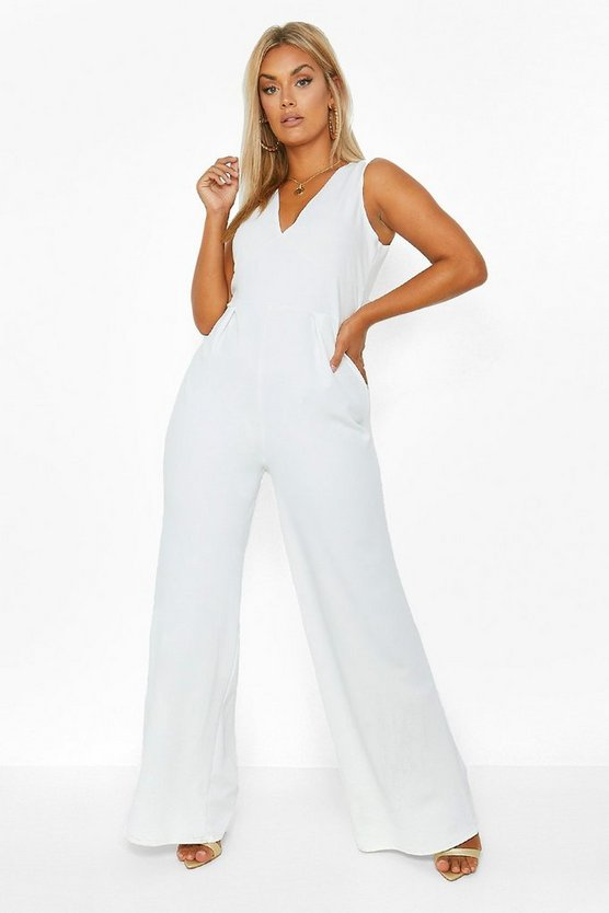 Womens Ivory Plus Plunge Wide Leg Jumpsuit
