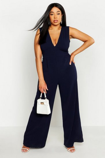 Womens Navy Plus Plunge Wide Leg Jumpsuit