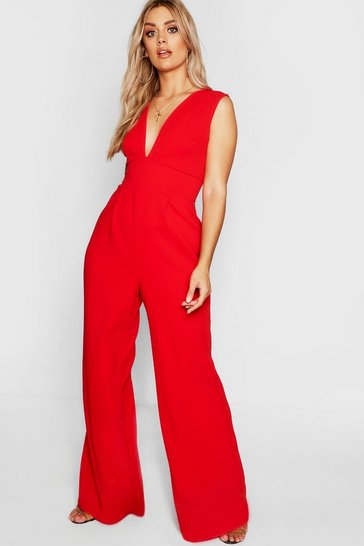 Womens Red Plus Plunge Wide Leg Jumpsuit