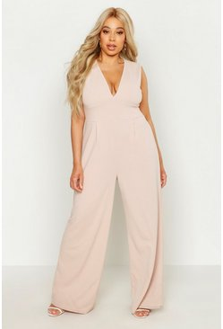 Stone Plus Plunge Wide Leg Jumpsuit