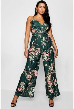 Womens Green Plus Floral Wrap Front Jumpsuit