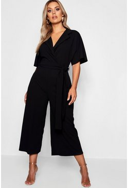Womens Black Plus Utility Culotte Jumpsuit