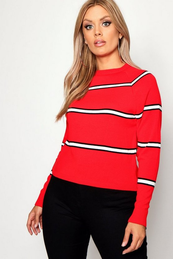 Womens Red Plus Stripe Oversized Jumper