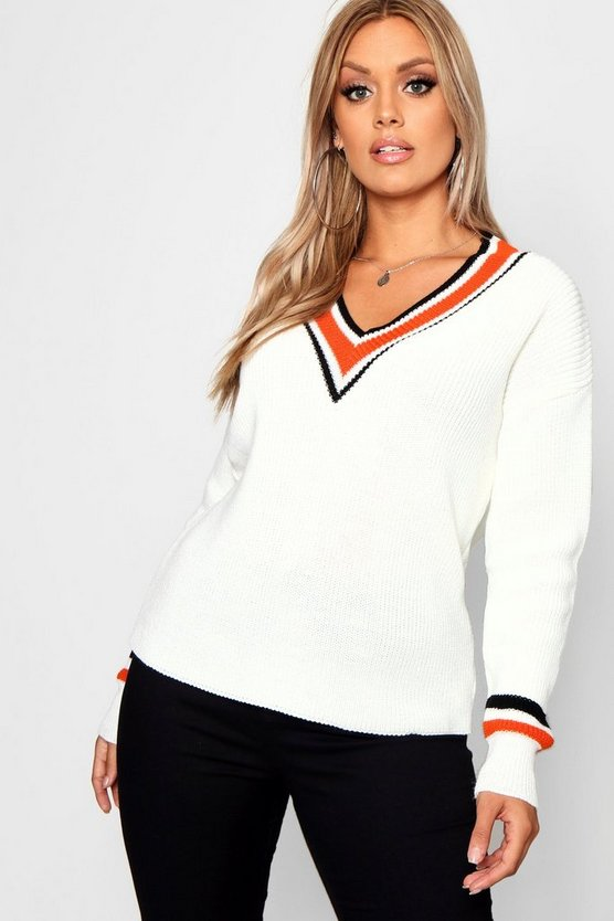 Plus Stripe Contrast V Neck Oversized Jumper