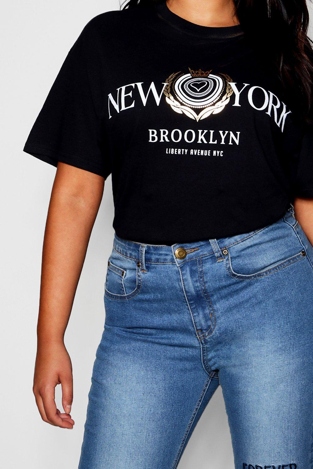 "metálico ""New York estampado con Camiseta qTBZ11"