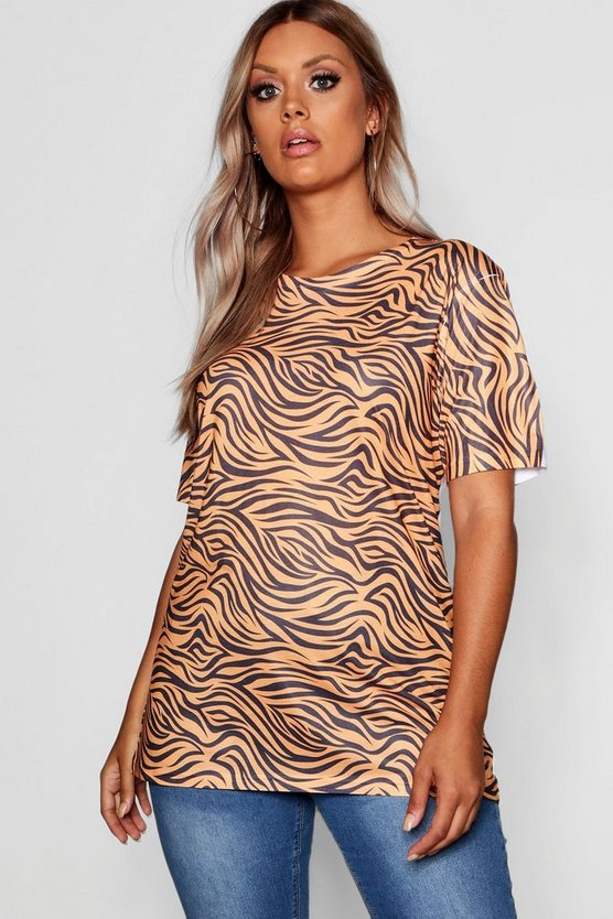 Womens Orange Plus Tiger Print Oversized Tshirt