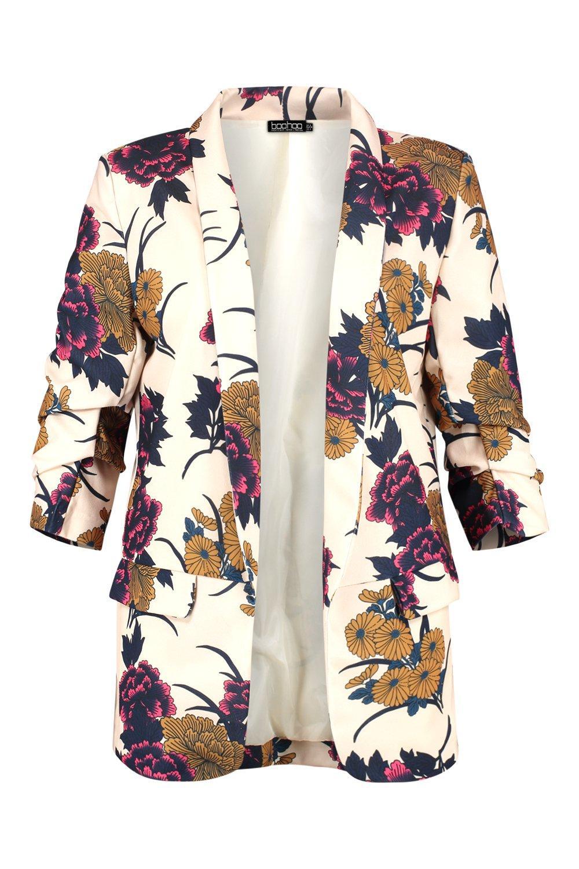 marfil floral Plus entallado mangas con Blazer YqwHaf